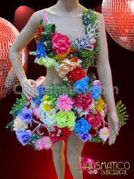 flower dress playful carnival inspired flower and frond covered pink cage dress