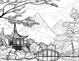 Paysage du Japon dessin à imprimer pour adulte  Artherapieca