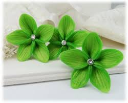 flower hair pins green hair flowers green flower wedding hair pins