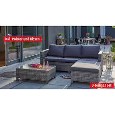 sofa hocker outdoor lounge sofa mit tisch hocker und polster faro grau porta