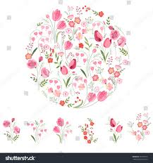 stylized round template cute bunches tulips stock vector 361699916