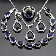 blue sapphire necklace set images Blue sapphire jewellery set jpg