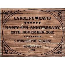 fifth wedding anniversary gifts wood 5th fifth wedding anniversary personalised wine by bottle