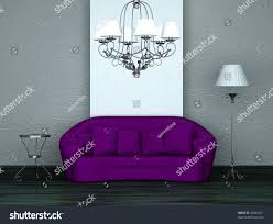 purple sofa tablestand lamp luxury chandelier stock illustration