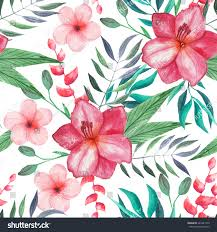 Tropical Flowers And Plants - seamless pattern watercolor tropical flowers leaves stock