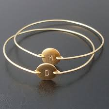 personalized bangles personalized jewelry for initial bracelet with gold plated