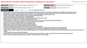 Clerical Resume Sample by Spectacular Idea Medical Records Resume 11 Medical Records Resume