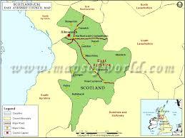 map of east uk of east ayrshire council scotland uk
