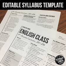 syllabus template editable modern newsletter layout for secondary