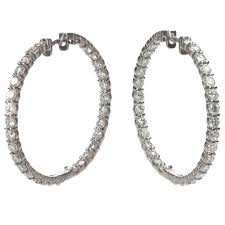 large gold hoop earrings custom made 8 83 carat diamond large gold hoop earrings for sale