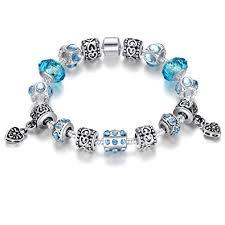 murano bead bracelet images Bamoer 2016 blue murano glass beads heart charm beaded jpg