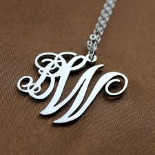 initial monogram necklace personalized 2 initial monogram necklace sterling silver