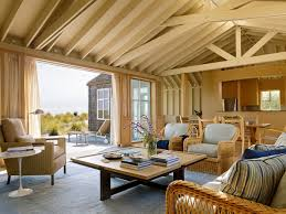 Beach Themed Living Rooms by Rustic Wooden Ceiling Above Cane Work Couch Front Square Table On