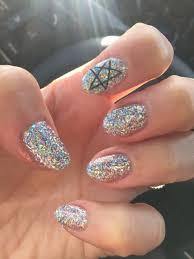 korean nail trend hologram glitter gel nail design with black
