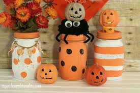 polka dot and striped halloween mason jars home with cupcakes