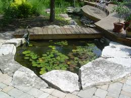 exterior design small backyard pond with stone pathway and potted