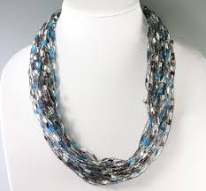 ribbon necklace images Z 39 s blue brown trellis ribbon necklace jpg