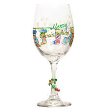 christmas glasses christmas wine glass w painted custom