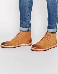 asos chukka boots in tan nubuck leather in brown for men lyst