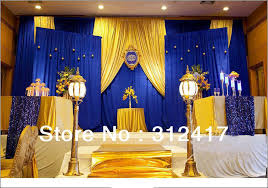 wedding decorations wholesale top selling customized royal blue and gold backdrop for theme
