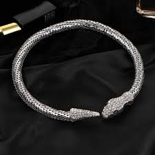 silver necklace chokers images Luxury rhinestone snake necklace choker statement starvik jpg