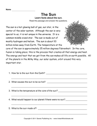 the sun comprehension worksheet the solar system pinterest
