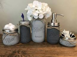 Cow And Chicken The Girls Bathroom Rustic Bathroom Decor Mason Jar Bathroom Set Mason Jar New House