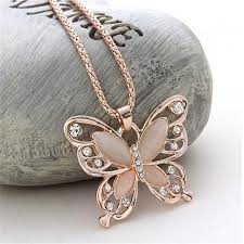butterfly long chain necklace images New fashion opals crystal butterfly necklaces pendants gold jpg
