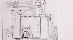how to draw a castle step by step youtube