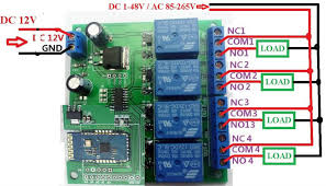 12v 4 channel bluetooth relay android mobile remote control switch