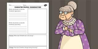 of the dump grandma character profile worksheet stories