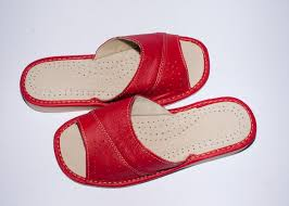 Leather Bedroom Slippers Women U0027s Red Leather House Slippers 0929 14 00
