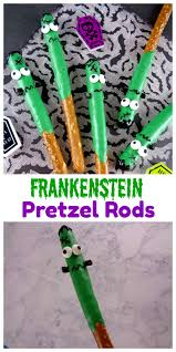 frankenstein pretzel rods are a spooky halloween treat