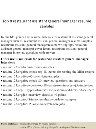 general manager resume examples top8restaurantassistantgeneralmanagerresumesamples 150530090751 lva1 app6891 thumbnail 4 jpg cb 1432976918