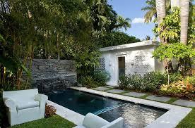 Modern Backyard Outdoors Minimalist Backyard With Small Modern Pool And White