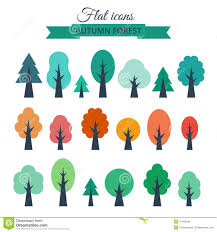 vector set with colored flat trees stock vector image 47464599