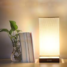 limelights stick l with charging outlet and fabric shade haitral bedside table l fabric shade wood desk light for bedroom