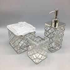 Nicole Miller Bathroom Accessories by 3pc Bella Lux Quatrefoil Chrome Glass Soap Pump Dispenser Jar