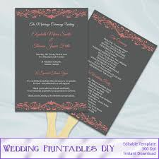 wedding program paddle fan template coral and gray wedding program fan template diy ceremony paddle