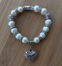 pearl bracelet designs images Pearl bracelet with heart charm charm bracelet stretch bracelet jpeg
