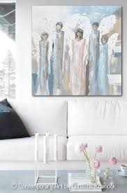 Contemporary Art Home Decor Original Abstract Angel Painting 5 Guardian Angels Home Decor Wall