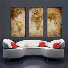 Home Decor Wall Paintings Aliexpress Com Buy 3 Panel Vintage World Map Canvas Painting Oil