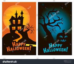 cartoon halloween backgrounds set halloween vertical banners haunted house stock vector