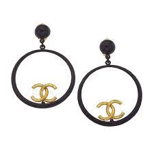 black hoop earrings chanel large black and gold hoop earrings for sale at 1stdibs