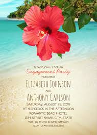 beach engagement party invitations tropical hibiscus hawaiian palms