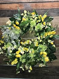 spring wreath hydrangeas yellow tulips spring door wreath