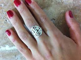 monogrammed rings silver initial circle monogram ring personalized name ring 925 sterling