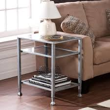 Glass End Tables For Living Room Great Glass Top Accent Table With Metal End Tables