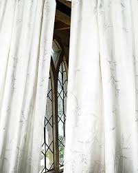 white organic heavy linen embroidered living room window lined