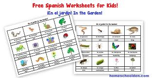 free spanish worksheets for kids in the garden en el jardín